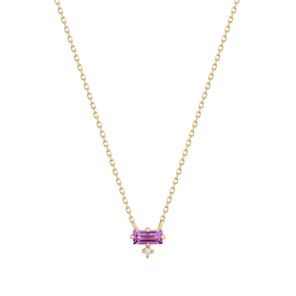 IRIS | Amethyst Baguette and Diamond Necklace
