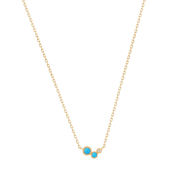 AMIRA | Turquoise & White Sapphire Waterfall Necklace