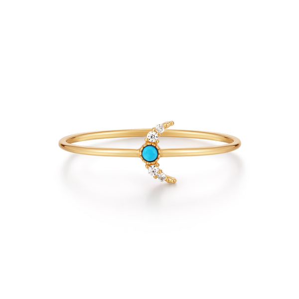 NORA | Turquoise & White Sapphire Crescent Moon Ring