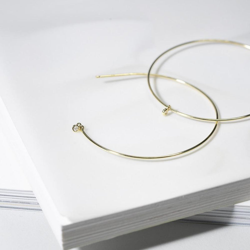 ANNE | Bezel Diamond Hoops
