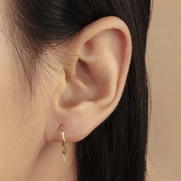 GINA | Key Charm Hoop Earrings
