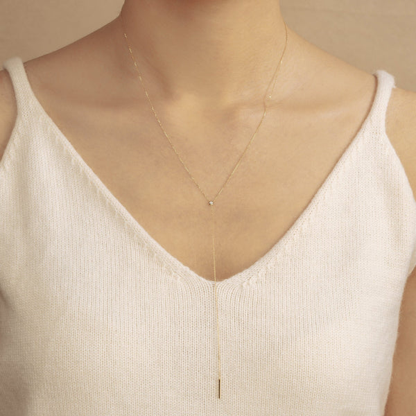 MICHELLE | Diamond Bar Lariat Necklace