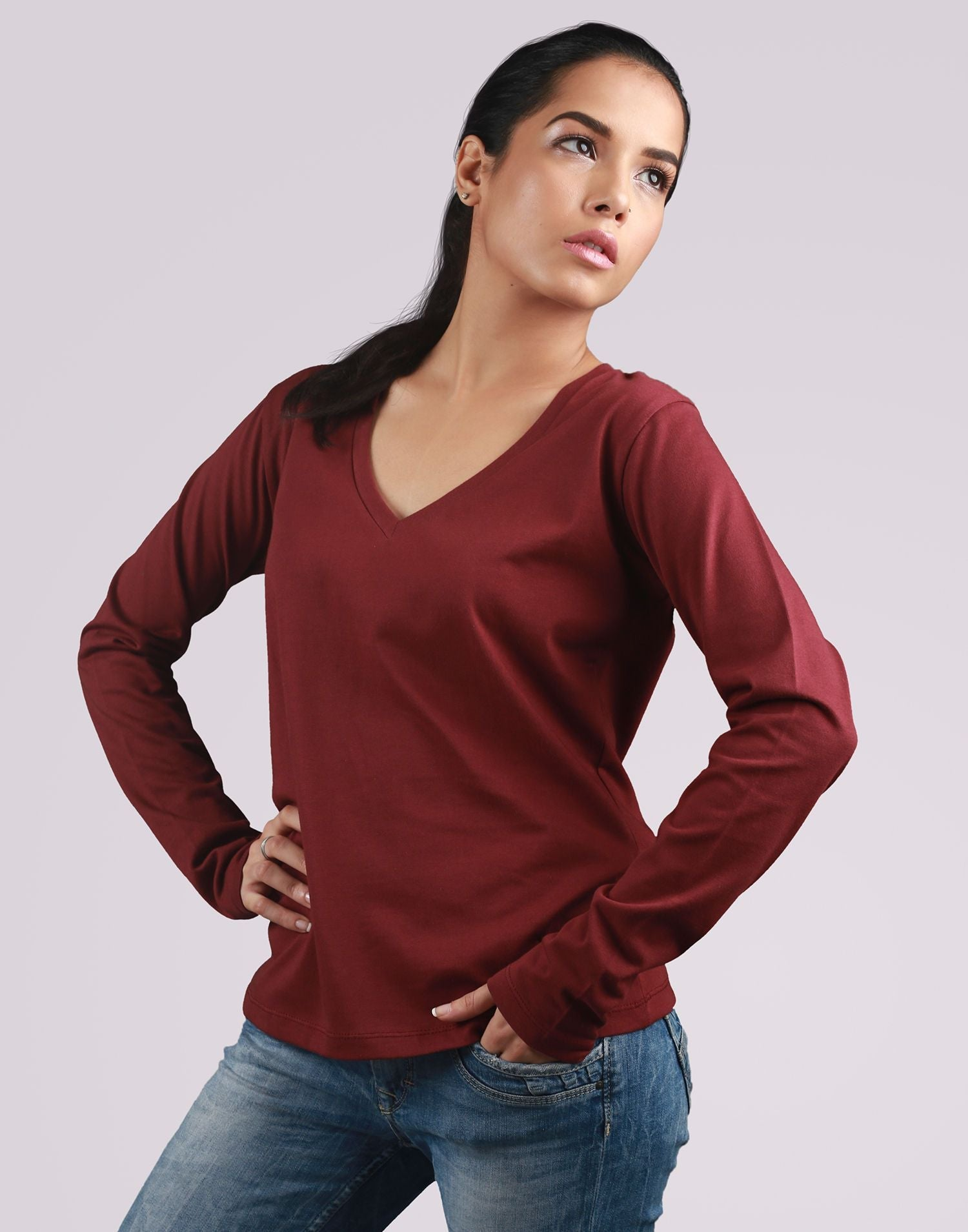 V Neck Full Sleeves
