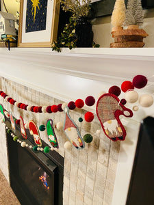 Wool Garland Kit: Gnomes in a Row + Valdani + BOTH Wool ball Layering Garlands