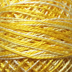 Valdani Perlé Cotton Variegated: M12-Spring Lights-shades of light yellow, lemon, white - Hattie & Della