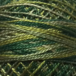 Valdani Perlé Cotton Variegated: M19-Olives-shades of olive greens - Hattie & Della