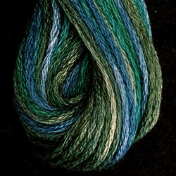 Valdani 6 Strand Embroidery Floss Variegated: M30 - Deep Waters - deep teals, blues, greens - Hattie & Della