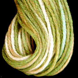 Valdani 6 Strand  Embroidery Floss Variegated: M47 - Robin`s Nest - soft colors: limes, dusty rose, cream - Hattie & Della