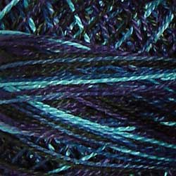 Valdani Perlé Cotton Variegated: M58 - Midnight Sea - navy, teals, turquoise, light - Hattie & Della