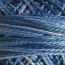 Valdani Perlé Cotton Variegated: M68 - Blue Clouds - shades of light to med. blue-grays - Hattie & Della