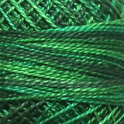 Valdani Perlé Cotton Variegated: M79 - Explosion in Greens - bright medium greens - Hattie & Della