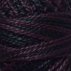 Valdani Perlé Cotton Variegated: O524 - Maroon Moss - black, dark grays, subdued maroons and greens - Hattie & Della