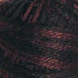 Valdani 3 Strand-Floss: O524 - Maroon Moss - black, dark grays, subdued maroons and greens - Hattie & Della