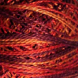 Valdani Perlé Cotton Variegated:O533 - Golden Autumn - golden reds, burgundy, gold - Hattie & Della