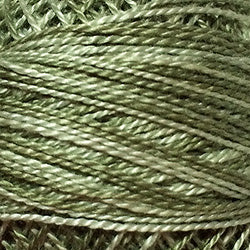 Valdani Perlé Cotton Variegated:O579 - Faded Olive - dusty olive shades - Hattie & Della