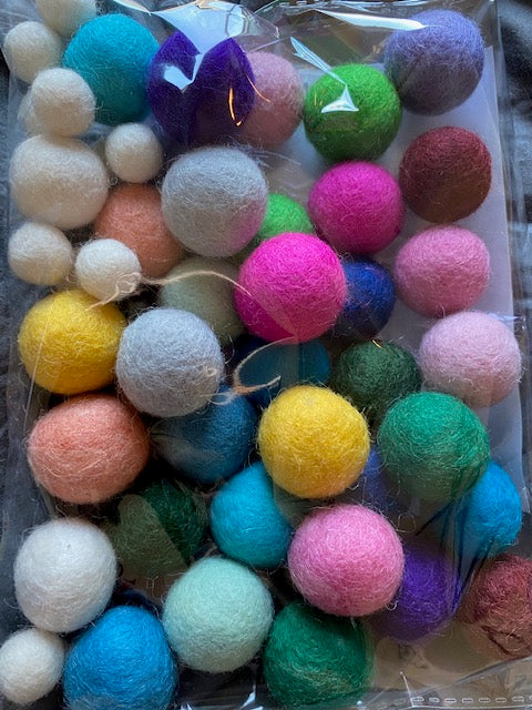 You String - Garland Wool Balls ONLY: A Rainbow of Color