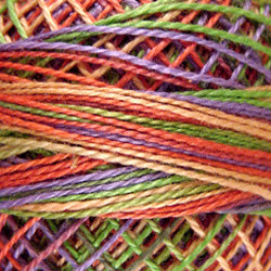 Valdani Perlé Cotton Variegated: V21 - Chimney Sparks - soft shades of lime, yellow, peach-orange, lavender - Hattie & Della