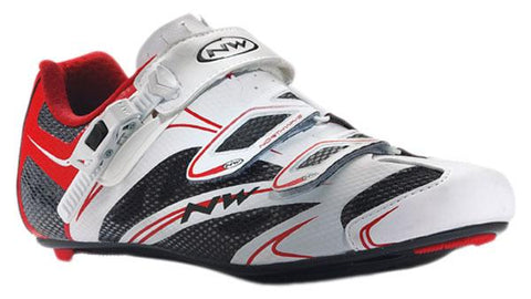 Northwave Sonic SRS Road Bike Shoes - Men White/Red