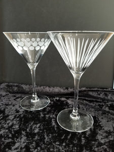 Retro Etched Cocktail/Martini Glasses