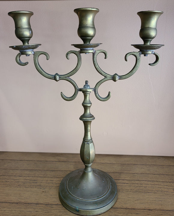 Antique Brass Candleabra Set