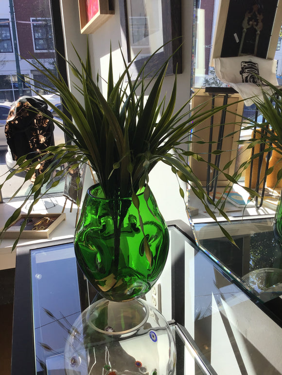 Emerald Green Dimpled Glass Vase