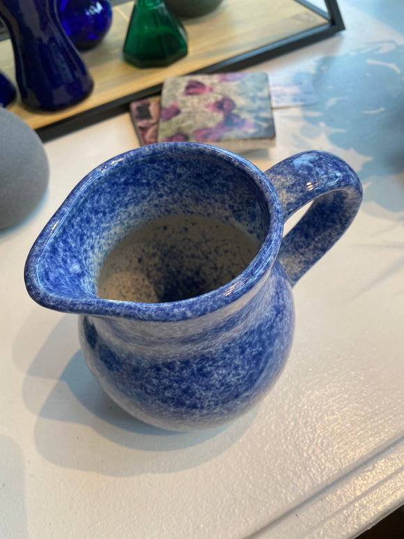Spotted Blue Pottery Pitcher
