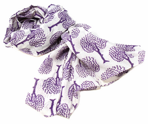 "Hand-printed Cotton Scarf, ""Tree of Life"""