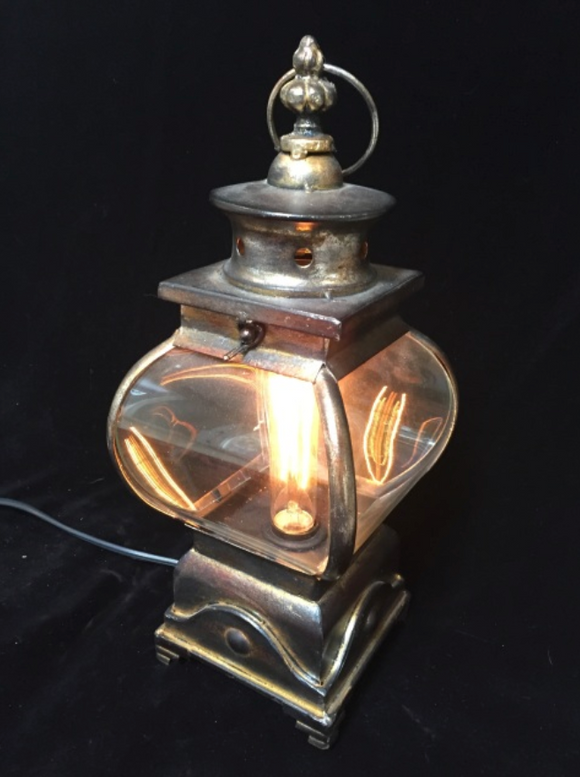 Illuminated Curved Glass Lantern