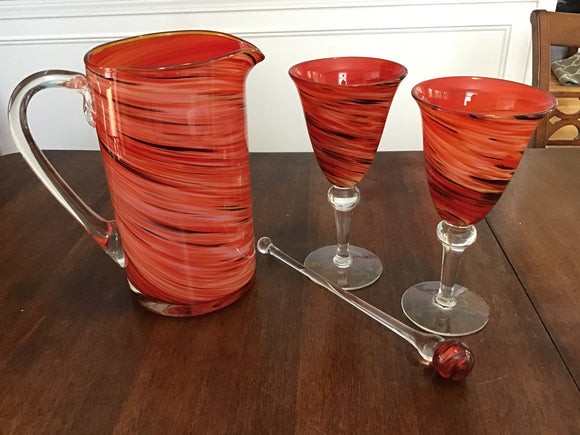 Hand Blown Art Glass, Pitcher & Glasses Set