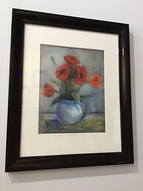 Red Poppies, framed print by Emilia Farrell