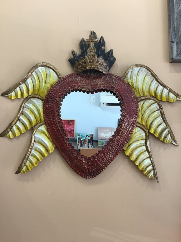Mexican Tin Heart Mirror