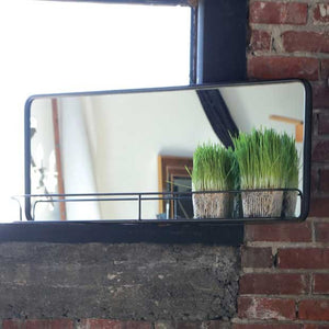 Long Metal Mirror & Shelf