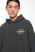 "Load image into Gallery viewer, ""GARMENTS"" GREY LOGO HOODIE"