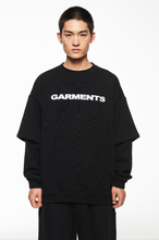 "Load image into Gallery viewer, ""GARMENTS"" BLACK SWEATSHIRT"