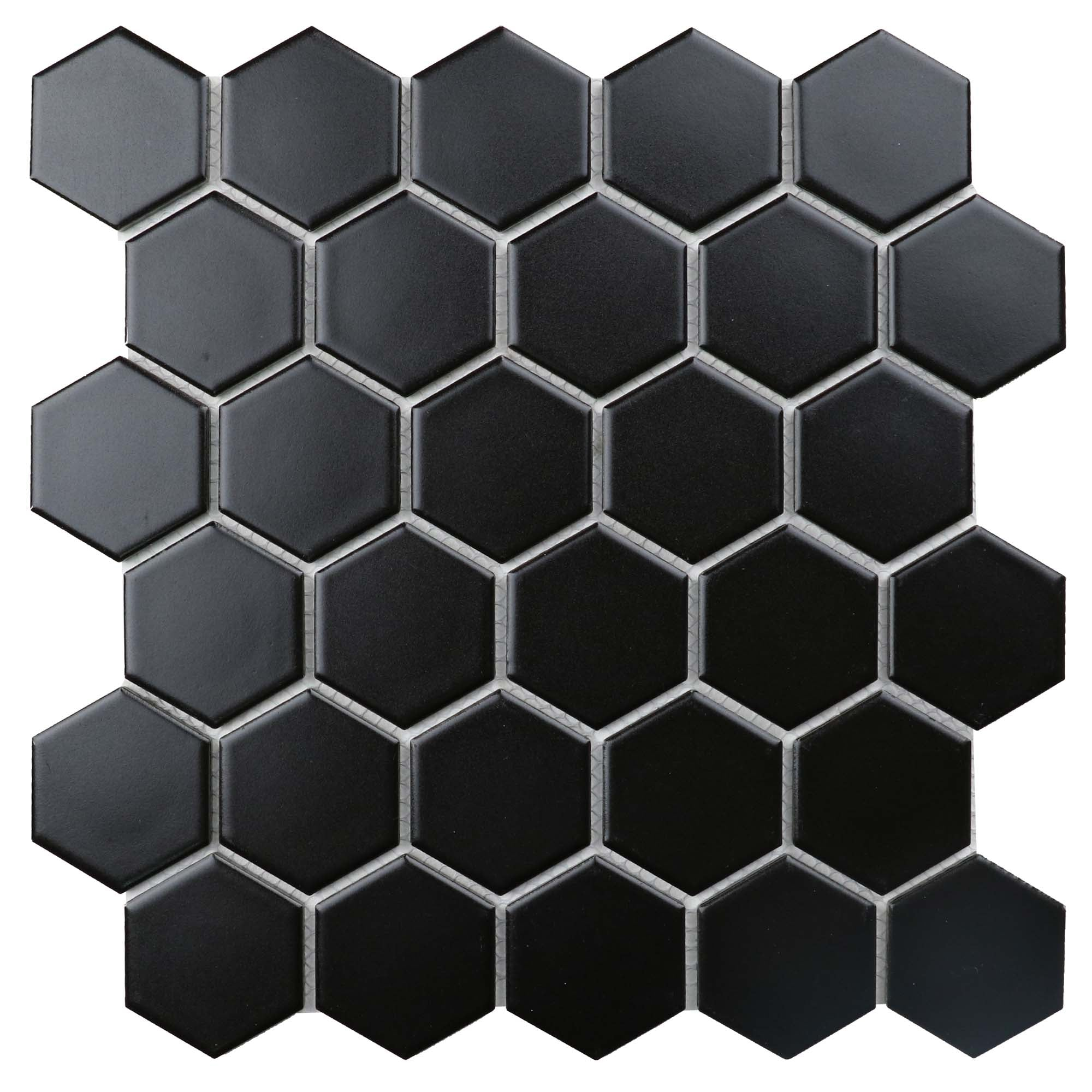 "Retro 2"" Hexagon Porcelain Tile, Matte Finished Floor & Wall Tile - 18 Square Feet Per Carton - Black"