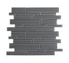 Interlocking Hand Painted Glass Mosaic Tile, Backsplash for Kitchen and Bathroom - 5 Square Feet Per Carton - Hand Painted Dark Gray