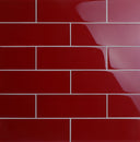 "4"" x 12"" Individual Glass Subway Tile, Backsplash for Kitchen and Bathroom - 5 Square Feet Per Carton - American Red"