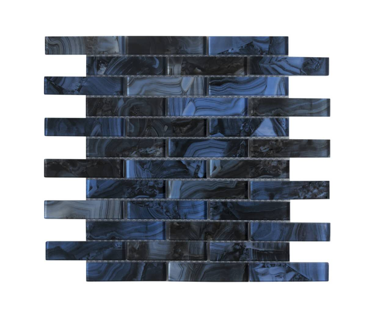"Impressions 1"" X 4"" Glass Mosaic Tile, Backsplash for Kitchen and Bathroom - 5 Square Feet Per Carton - Blue and Gray"