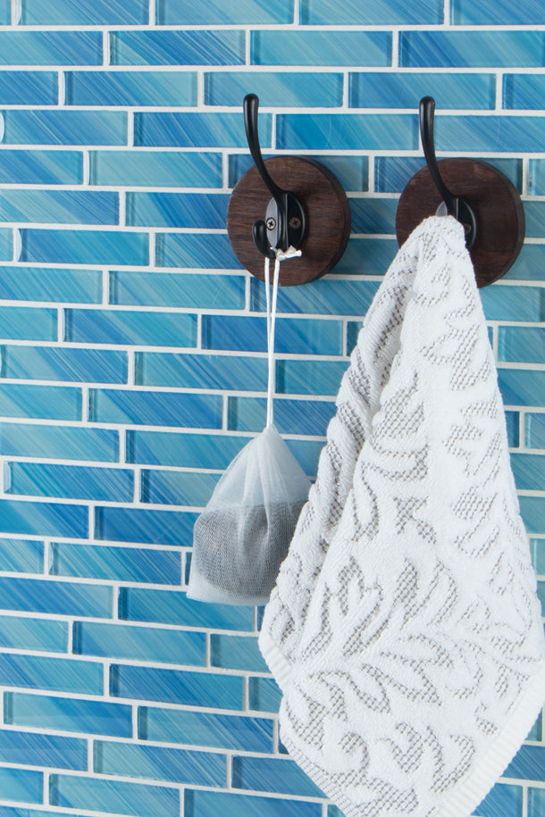 "Hand Painted Offset 1"" X 4"" Glass Mosaic Tile, Backsplash for Kitchen and Bathroom - 5 Square Feet Per Carton - Light Blue"