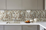 Twilight Mixed Squares Aluminum and Glass, Backsplash for Kitchen and Living Space - 10 Square Feet Per Carton - Gray and Earth