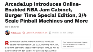 Arcade1up Introduces Online-Enabled NBA Jam Cabinet, Burger Time Special Edition, 3/4 Scale Pinball Machines and More