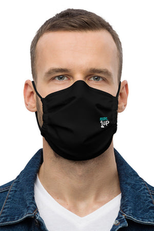 Black Distressed Teal Logo Face Mask