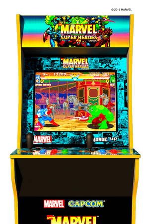 "Marvel Super Heroes Arcade Cabinet <span style="" font-size:0.7em; line-height:0.8em;"">Special Edition with Custom Riser Included (Pre-Order)</span>"