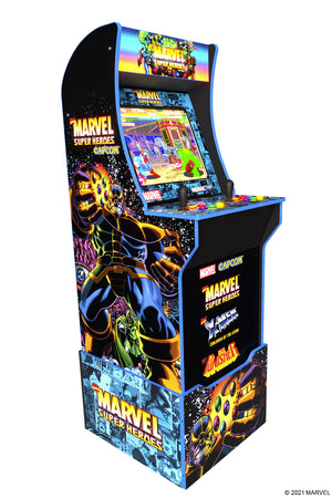 Marvel Super Heroes Arcade Cabinet with Riser, Light Up Marquee and Light Up Buttons