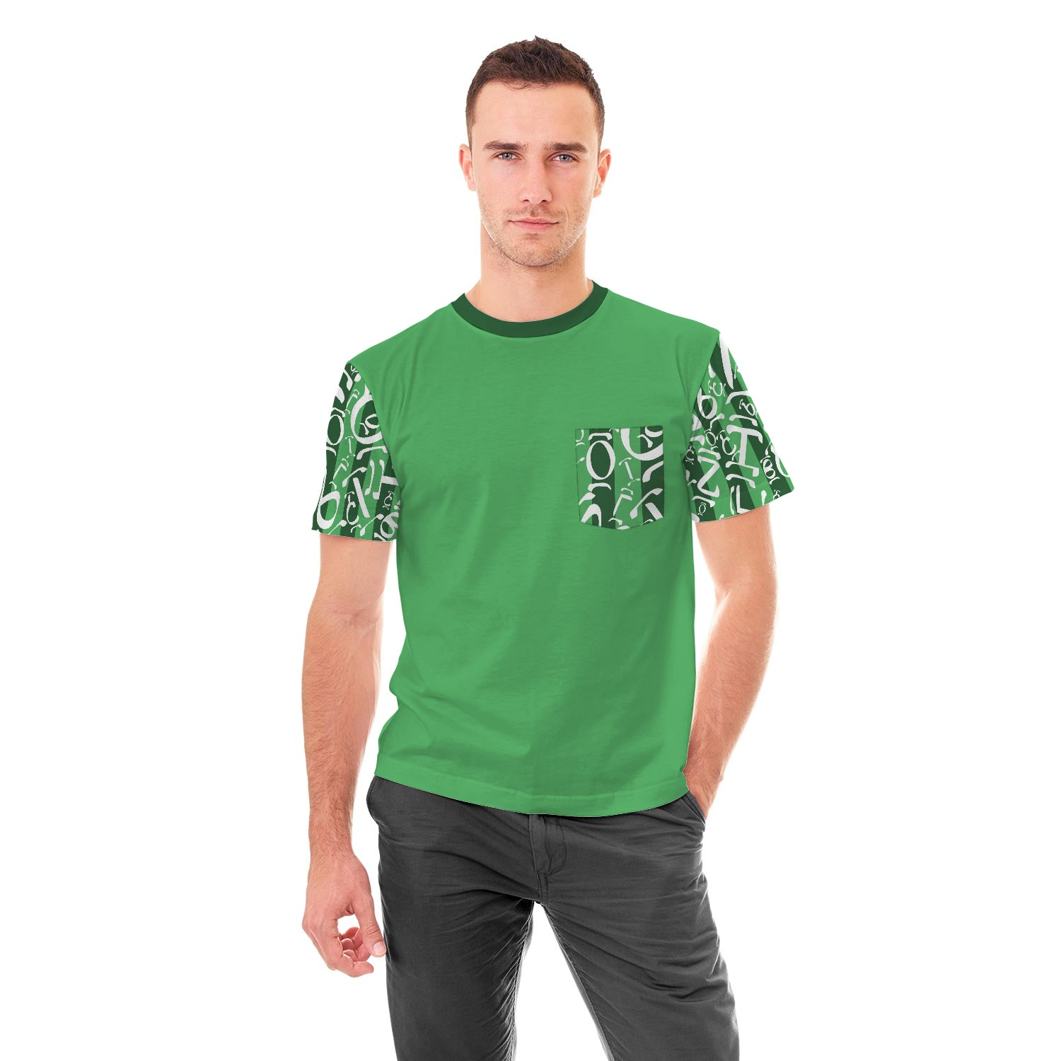 Green Ethiopian Numbers Pocket Tshirt