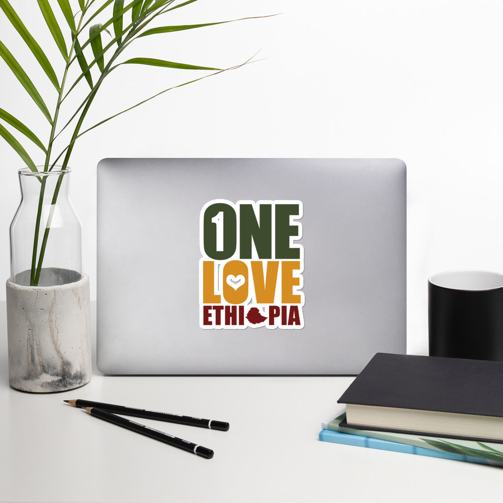 One Love Ethiopia Bubble-free stickers