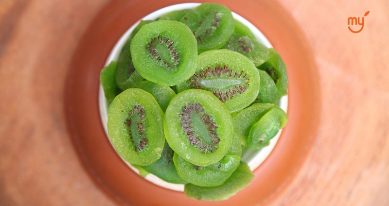 close up of dried kiwi