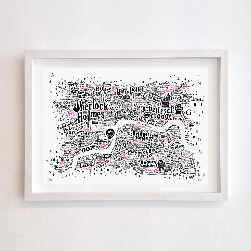 Literary Central London Map (Black and Fluoro Red Screenprint)