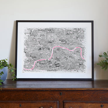 Music Map Of London (Pink Thames)