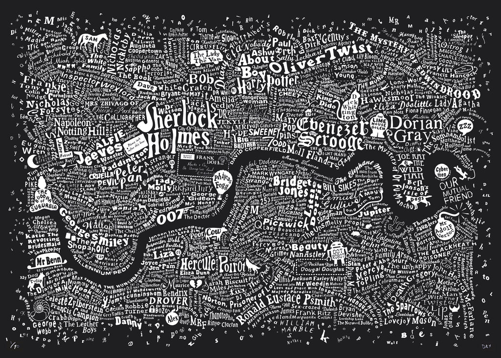 Literary London Map (Dark Blue Plike, 2017)